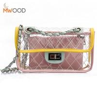 Moon Wood Small Bag Female Transparent Candy Color Handbag Clear Gradient Lingge Chain Shoulder Bag Crossbody
