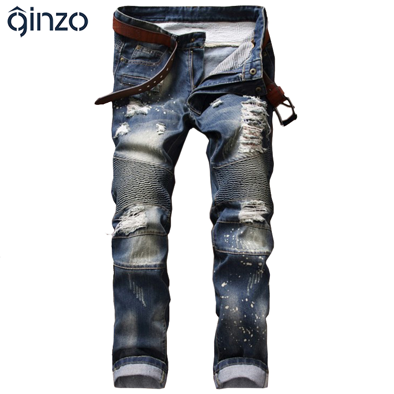 Alion Mens Moto Biker Ripped Distressed Straight Fit Denim Shorts with Hole
