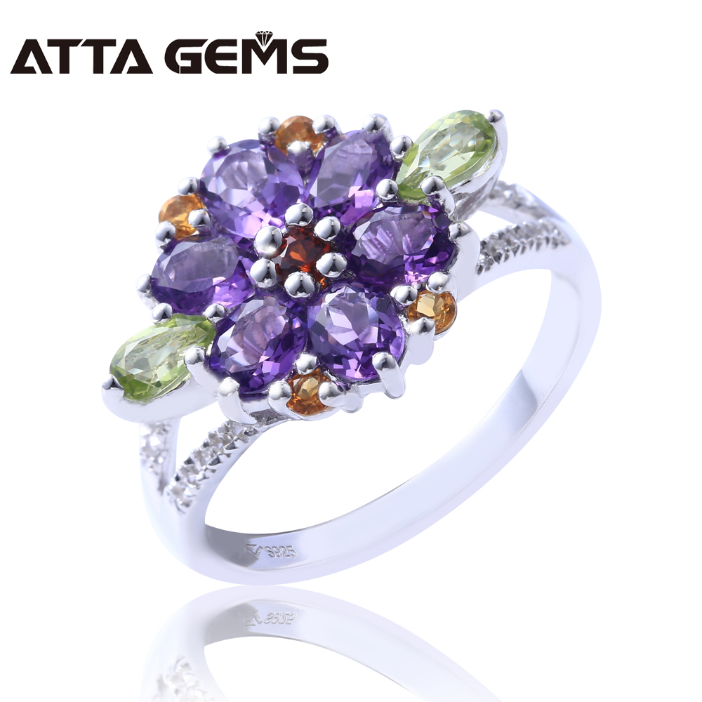 Natual Amethyst Sterling Silver Rings for Women Wedding 5 Carats Natural Semi-precious Crystal Fine Jewelry Brand Top QualityNatual Amethyst Sterling Silver Rings for Women Wedding 5 Carats Natural Semi-precious Crystal Fine Jewelry Brand Top Quality