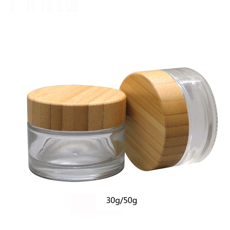 105pcs 30g 112x50g Empty Cosmetic Clear Glass Face Cream Jar &Bamboo Cap Transparent Makeup Packaging Container Bottle Wholesale 10pcs 5g cosmetic empty jar pot eyeshadow makeup face cream container bottle acrylic for creams skin care products makeup tool