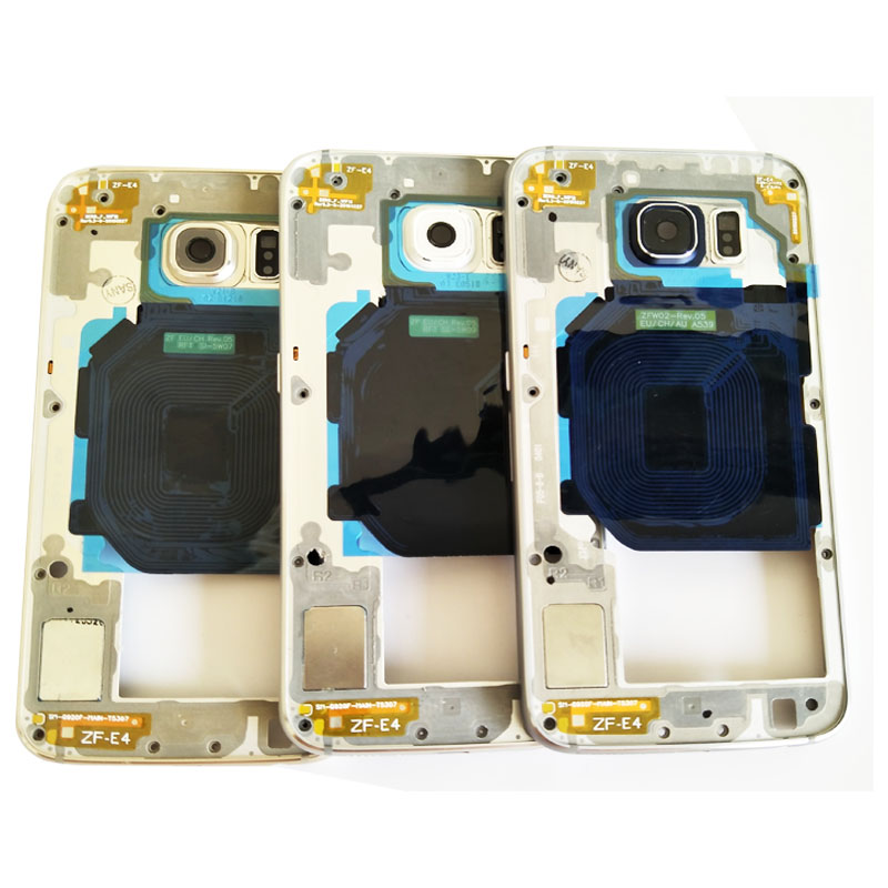 High Quality Single/Dual Sim Card Middle Frame Housing Bezel For Samsung Galaxy S6 G9200 G920F housing+side buttons Screen Plate
