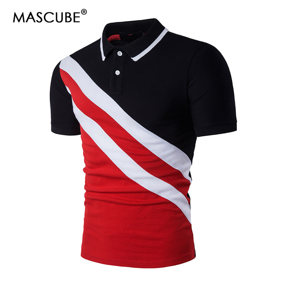 MASCUBE Drop Shipping Casual Men Brand Short Sleeve Cotton Stripe   Polo   Shirt NO.HZAW0177