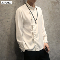 Chinese Style Flax Summer Shirt Men Single Breasted Solid Color Yarn Mens Shirt Long Sleeve Men