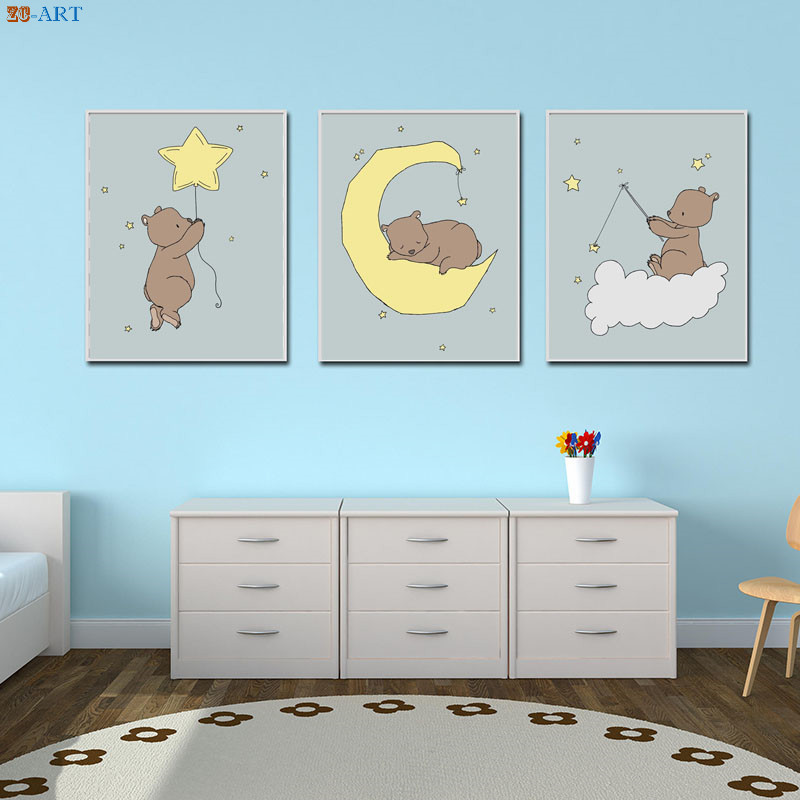 Us 3 56 40 Off Bear Moon And Stars Art Canvas Print Poster Kids Wall Baby Boy Room Bedroom Decoration Pictures Woodland Nursery Decor In