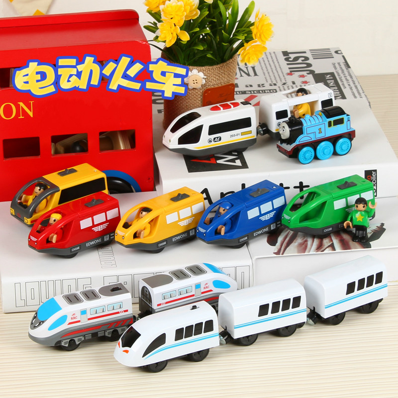 Kids Electric Train Toys Magnetic Slot Electric Train Wood Train Railway FIT Thomas Track Wooden Track Brio Electric Toy Trains