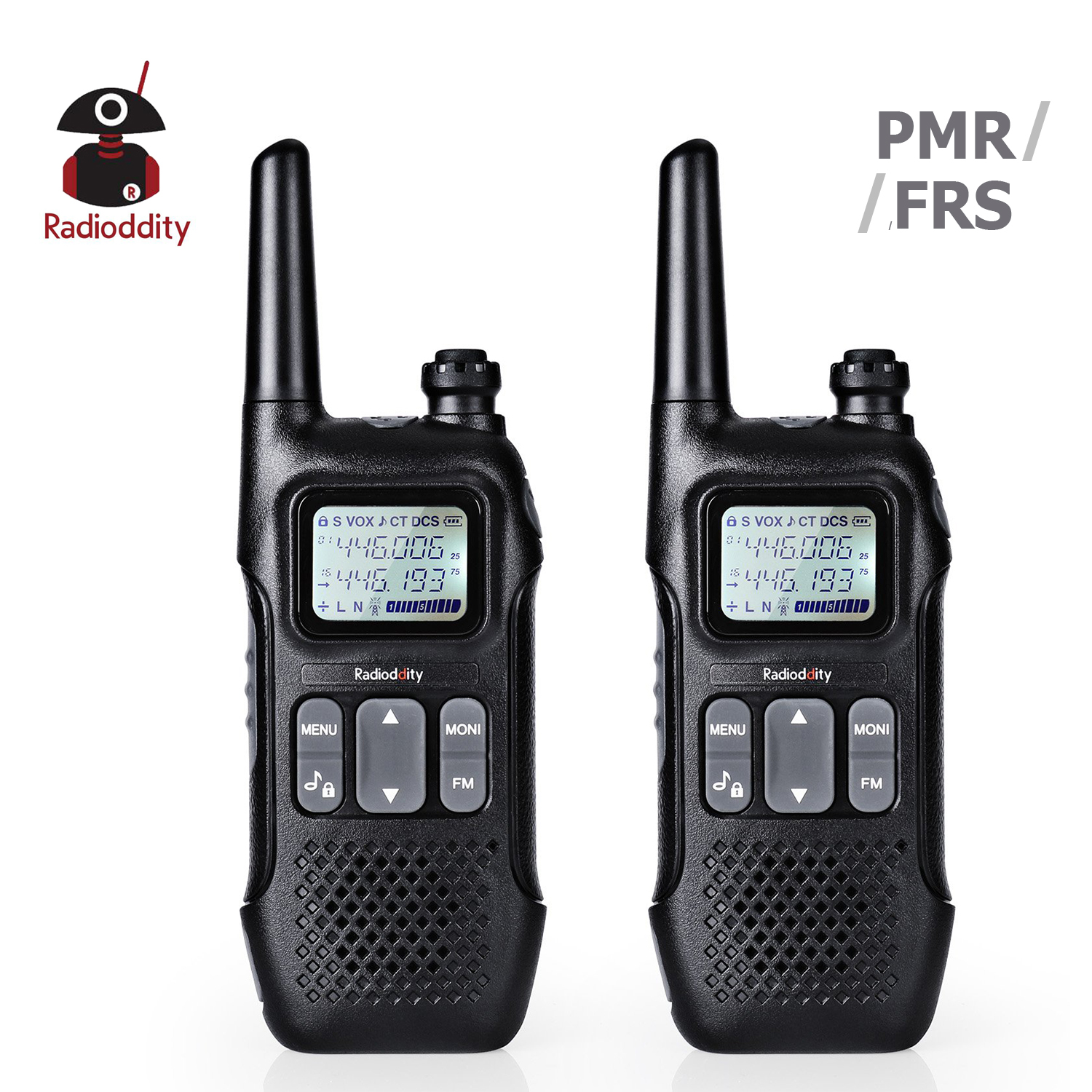 Radioddity Radio-License-Free Walkie Talkies Two-Way PMR 2pcs PR-T1 FRS 2W NO with NOAA