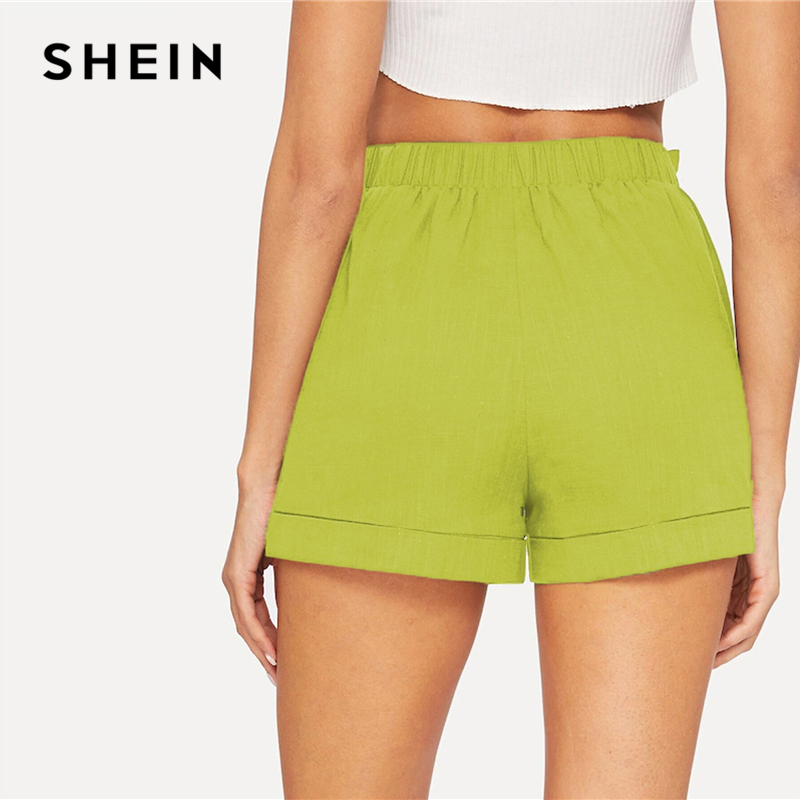 SHEIN Self Belted Elastic Waist Shorts Fitness Swish Women Army Green Solid Mid Waist Shorts 2019