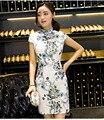 2017 Top-grade New Fashion Cheongsam Dress Chinese Silk Qipao Dress Short Sleeve Traditional Chinese Collar Cheong-sam