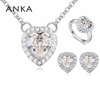 ANKA cute heart pendant necklace earrings and ring set made with Crystals from A for jewelry sets women gift #123844