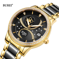 BUREI Rose Gold Black Watch Woman Mechanical Automatic Watch Ladies Waterproof Ceramic Leather Band Diamond Luminous Clock Date