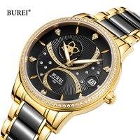 BUREI Rose Gold Women Mechanical Watches Ladies Waterproof Ceramic Leather Automatic Wrist Watch Clock Woman Relogio Feminino
