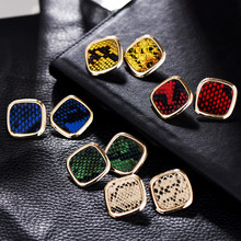 Vintage Multicolor Punk Snake Skin Stud Earrings Women Party Dress Stylish Golden Square Za Earring Maxi Jewelry Wholesale(China)