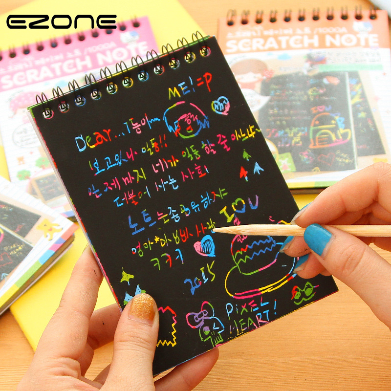 EZONE DIY Cute Kawaii Coil Graffiti Notebook Black Page Magic Drawing Book Painting Notepad for Kids Notepad Stationery Gift ножницы diy page 8