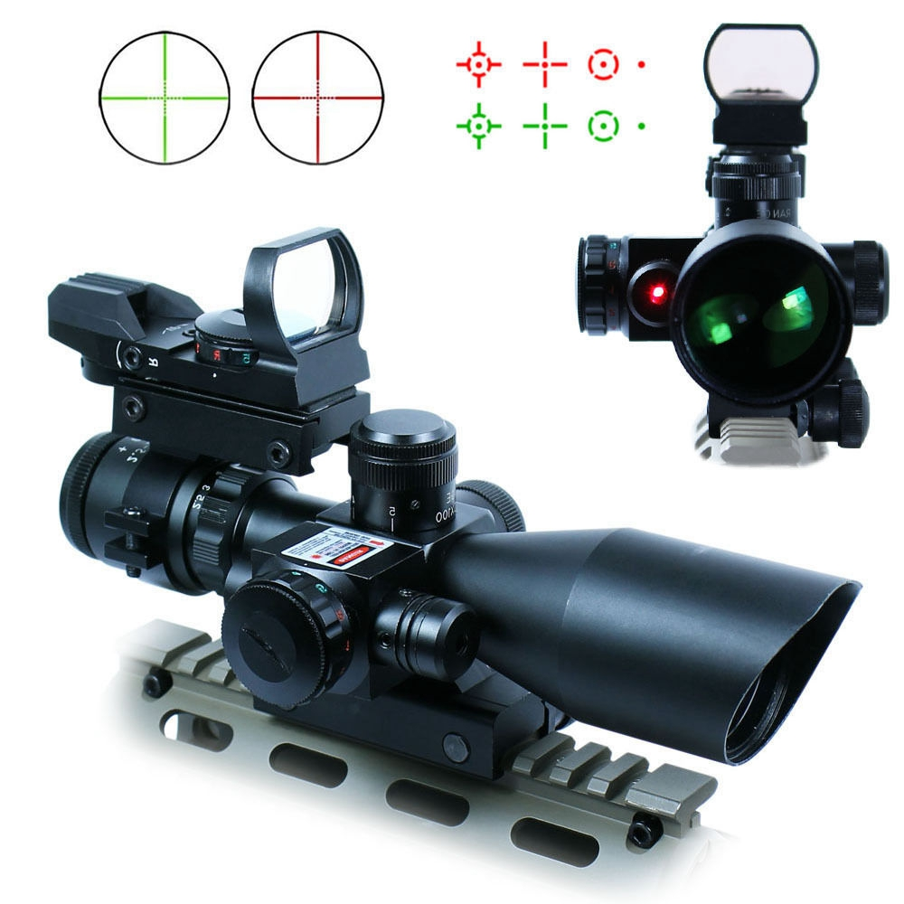 2.5-10X40 Hunting Tactical Riflescope w/ Red Laser & Holographic Green / Red Dot Sight Airsoft 20mm Rail цена