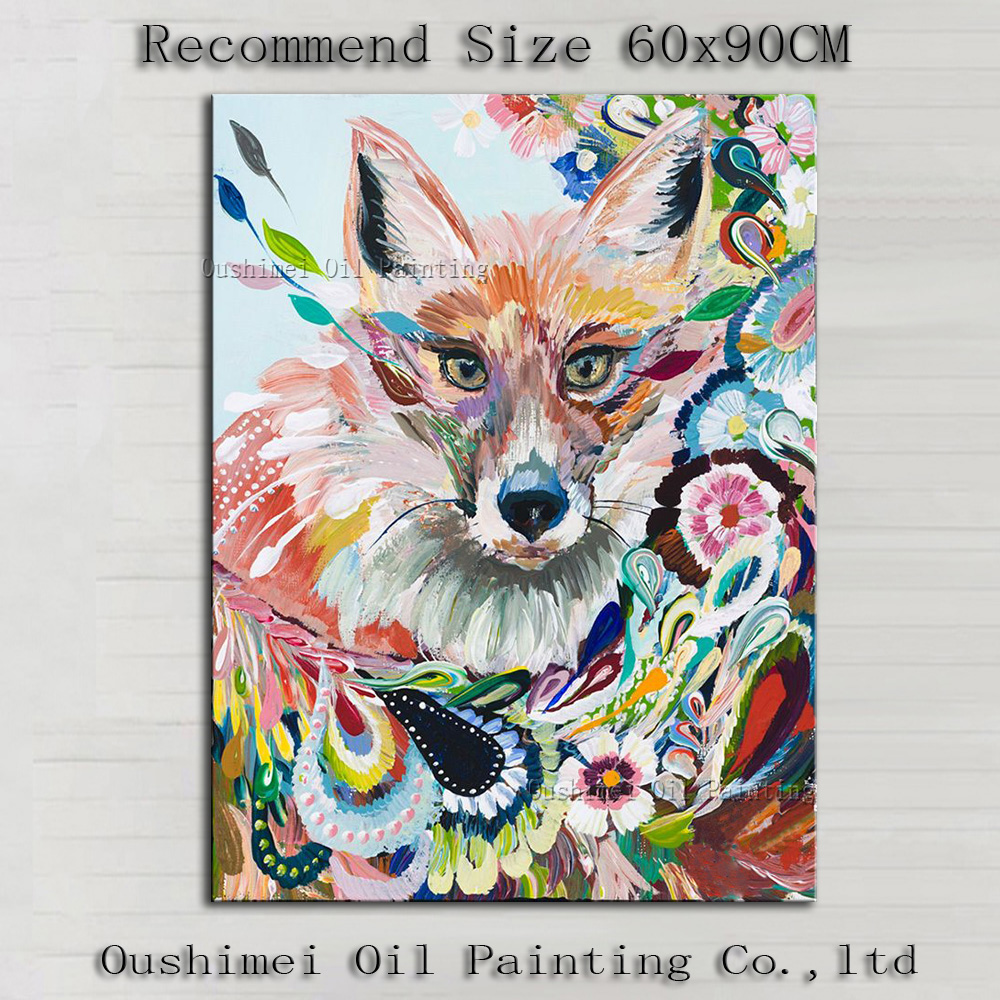 Professional Artist Hand Painted High Quality Abstract: Professional Artist Handmade High Quality Abstract Fox Oil