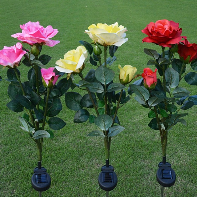 Solar Power Rose Red Pink Yellow Flower Garden Stake Landscape Lamp Outdoor  Yard LED Light Decorative