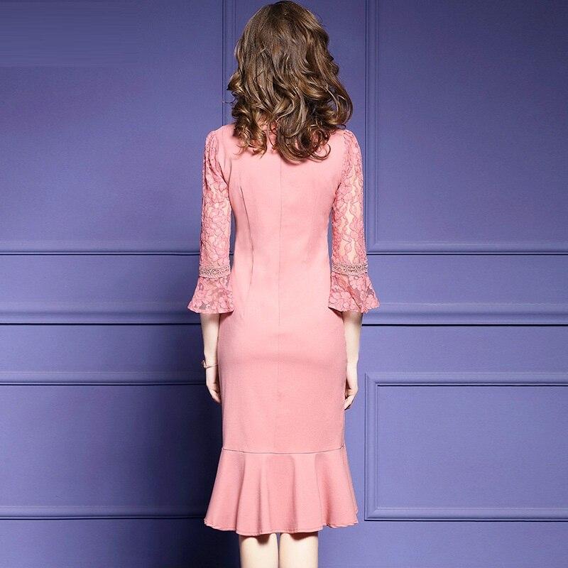 Encaje Del Señora Pluse Vestidos Nueva Otoño Vestido Alta Sexy Delgada Calidad Partido Elástico Elegante 2018 Mujeres Rosado Invierno La De Retro Runway Tamaño xnzYTEA
