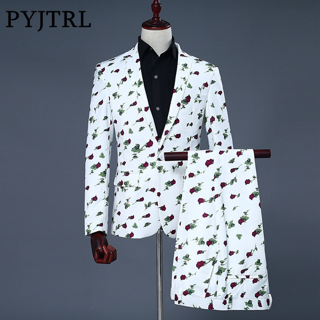 Pyjtrl Brand 2018 New Tide Men Suit Fashion Casual Rose Fl Print Wedding Suits Latest Coat