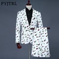 PYJTRL Brand 2018 New Tide Men Suit Fashion Casual Rose Floral Print Wedding Suits Latest Coat Pant Designs Smoking Masculino