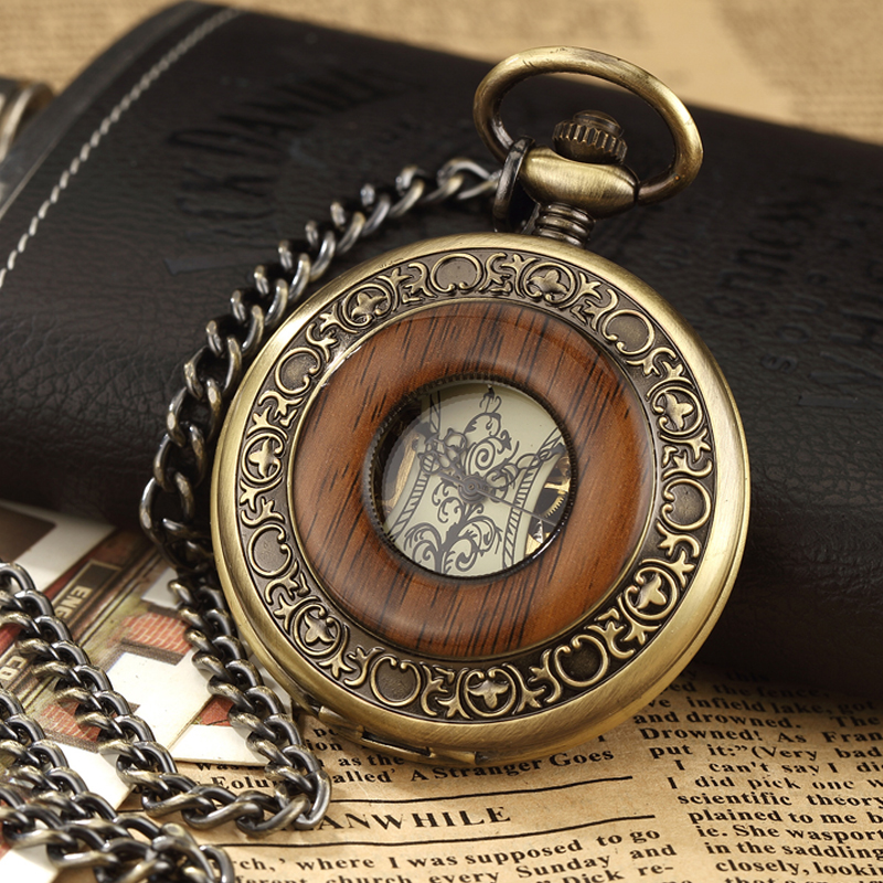 Box Package Solid Wood Mechanical Pocket Watch FOB Chain Locket Dial Hollow Steampunk Skeleton Men Women Mens Male Clock Watches(China)
