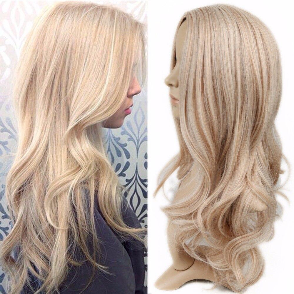 Wignee mezclado rubia ceniza medio largo ondulado Peluca de alta temperatura Natural de la onda del pelo peluca sintética sin costuras Cosplay pelo falso