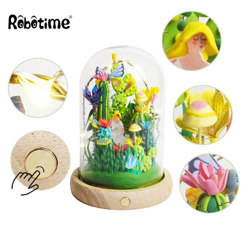 Robotime 4 Sortes argile à modeler Avec led & boîte en verre Coloré Polymère Creative argile pour travaux pratiques Creative Jouet Fille cadeau d'anniversaire DC