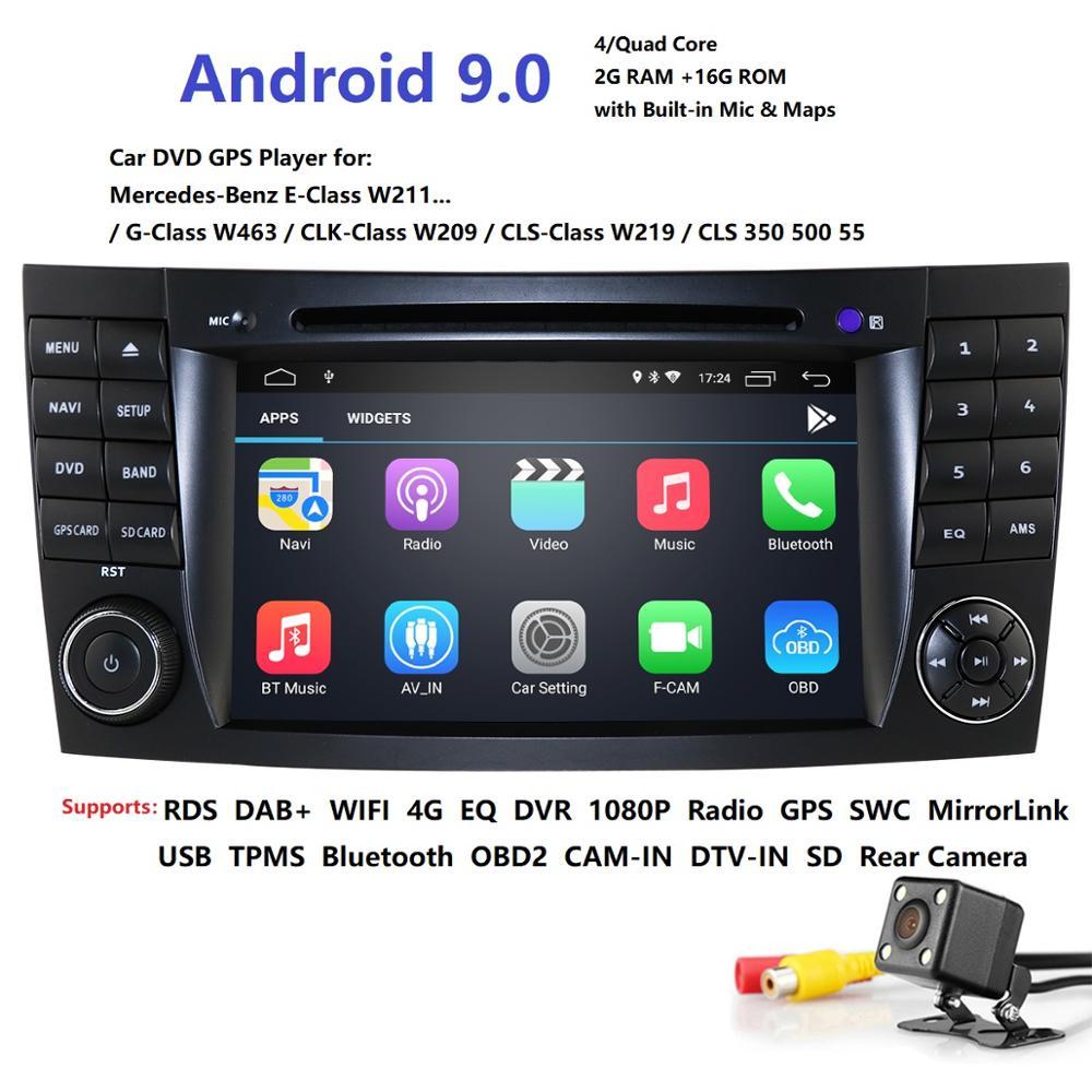 Lecteur multimédia de voiture deux 2Din lecteur DVD Android 9 pour Mercedes/Benz/classe E/W211/E300/CLK/W209/CLS/W219 GPS Radio Audio USB PC