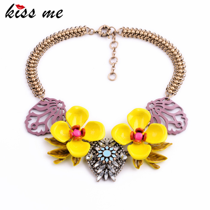 KISS ME Personalized Statement Jewelry Fashion Designer Big Yellow Enamel Flower Chunky Necklace