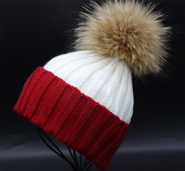 [Ode To Joy]Women winter hat wool female knitted beanies cap real natural fur pompom hats solid contrast colors good quality
