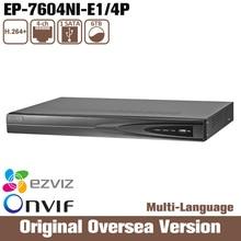 HIK Oem Ds-7604ni-e1/4p 4ch Canais Plug & Play Network Video Recorder Original English 4 SATA poe Interface Hdd Cctv
