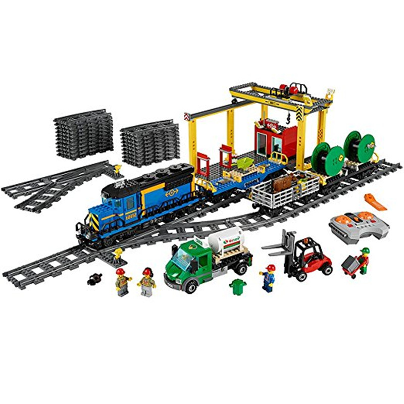 959pcs Diy City Series The Cargo Train Depot Model Building Blocks Compatible With Legoingly Bricks Toys Gift For Children lepin 02008 the cargo train 959pcs city series legoingly 60052 plate sets building nano blocks bricks toys for boy gift