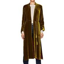 2017 осеннее пальто Женская Повседневная кимоно бархатное Пальто Длинные рукава Женская одежда длинный кардиган Женские пальто из основной коллекции
