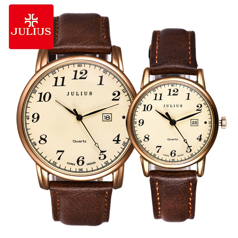 Julius Brand Watches Men Woman Quartz Business Couple Watch Casual Date Waterproof Leather Wristwatch Clock Relogio Masculino