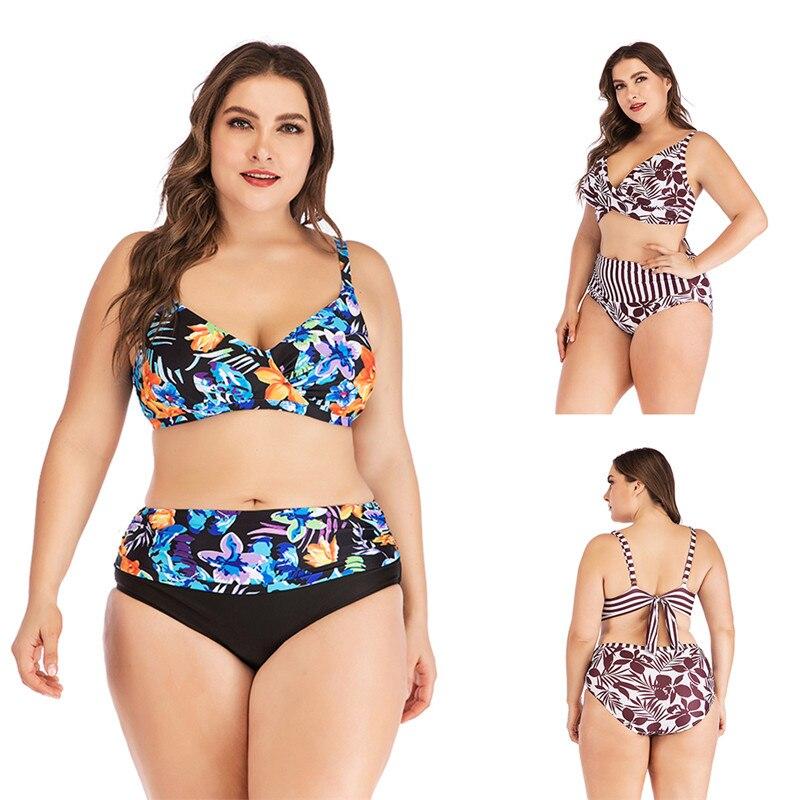 Plus Size Women Bathing Suit Two Piece Large Push Up Bikini Floral Swimwear Cross Bandage Vintage High Waist Female Swimsuit 5XL