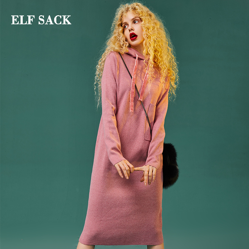 ELF SACK New Fashion Woman Dress Casual Straight Red Women Dresses Knee Length Hooded Solid Femme