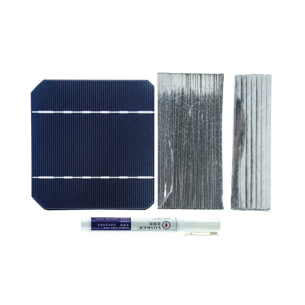 DIY Solar Panel Kit 160W 60Pcs Mono Solar Cell 5x5 With 40M Tabbing Wire 4M Busbar Wire and 2Pcs Flux Pen 40 pcs mono 5x5 solar cells diy kit for solar panel regulator bus tabbing wire