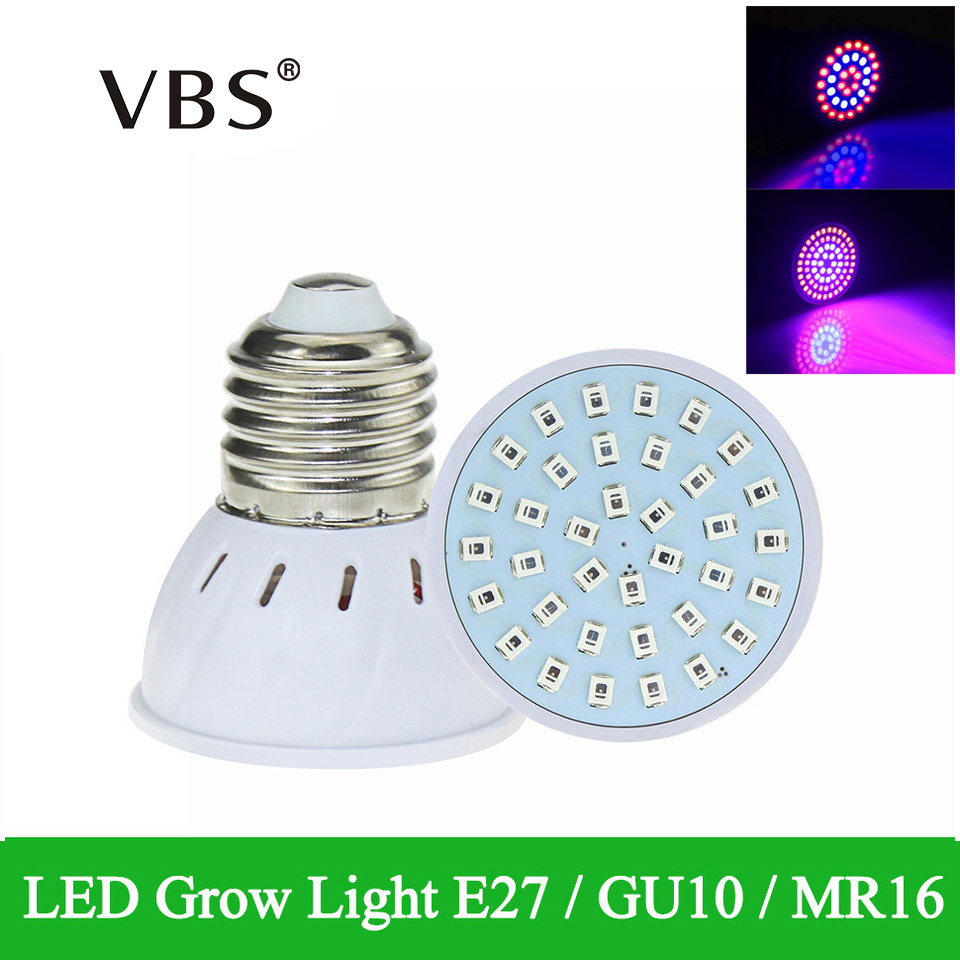 New Full Spectrum E27 GU10 MR16 Red+Blue Led Grow Lamps 220V Plant Growth Light 36 54 72LEDS ...
