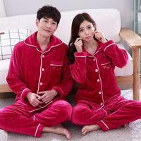 Red Couple Flannel Long Sleeve Sleepwear Home Wear Casual Lovers Warm Nightwear Pajamas Set 2PCS Clothes&Pant Pyjamas Suit 3XL