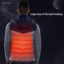 USB Smart Heating Мужской Хлопковый жилет с капюшоном, с капюшоном, для мужчин, Электрический Повседневный жилет, зимняя одежда с подогревом