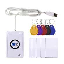 Nfc 리더 usb acr122u rfid 스마트 13.56mhz 카드 작가 복사기 복사기 nfc (iso/iec18092) 태그 + 5pcs uid 변경 태그
