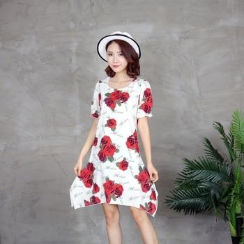 fc2eb1d84b5a1 Kadınlar Gül Çiçek Baskılı Mini Elbise Kısa Kollu Yaz Plaj Sundress  Bayanlar Bayan Seksi Günlük Elbiseler Vestidos