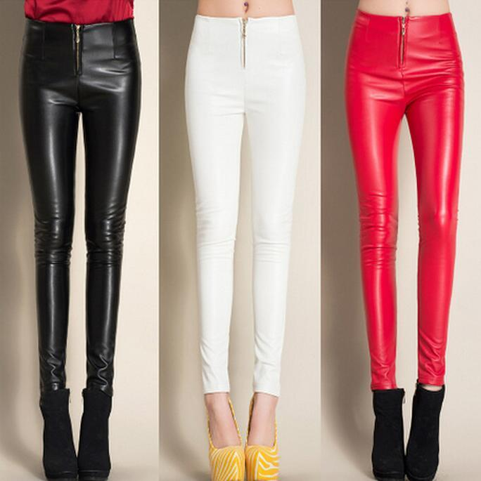 #0501 2019 Winter Black/White/Red Fleece Leggings Faux Leather Pants Skinny PU Pencil Pants Casual With Zipper Trousers Women
