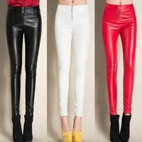 #0503 2018 Winter Black/White/Red Fleece Leggings Faux Leather pants Skinny PU Pencil Pants Casual With Zipper Trousers women