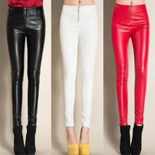 yeqedu 0503 2018 Winter Black/White/Red Fleece Leggings Faux Leather Skinny PU Casual