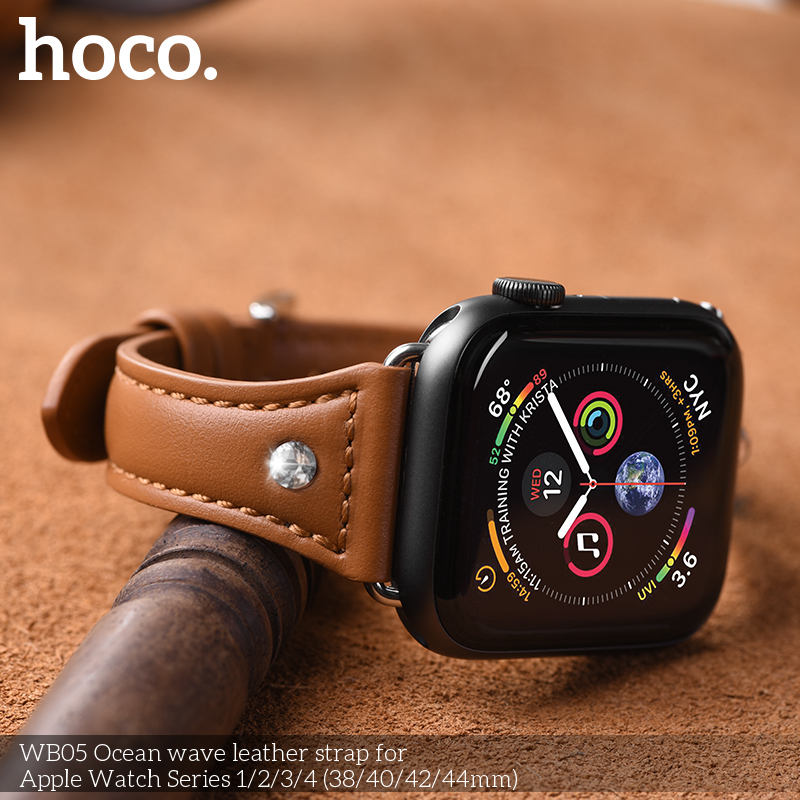 Watches Hoco Wb05 Female Style Ocean Wave Leather Watch Band For Apple Watch Series 4 Compatible With Apple Watch 44mm/42mm/40mm/38mm