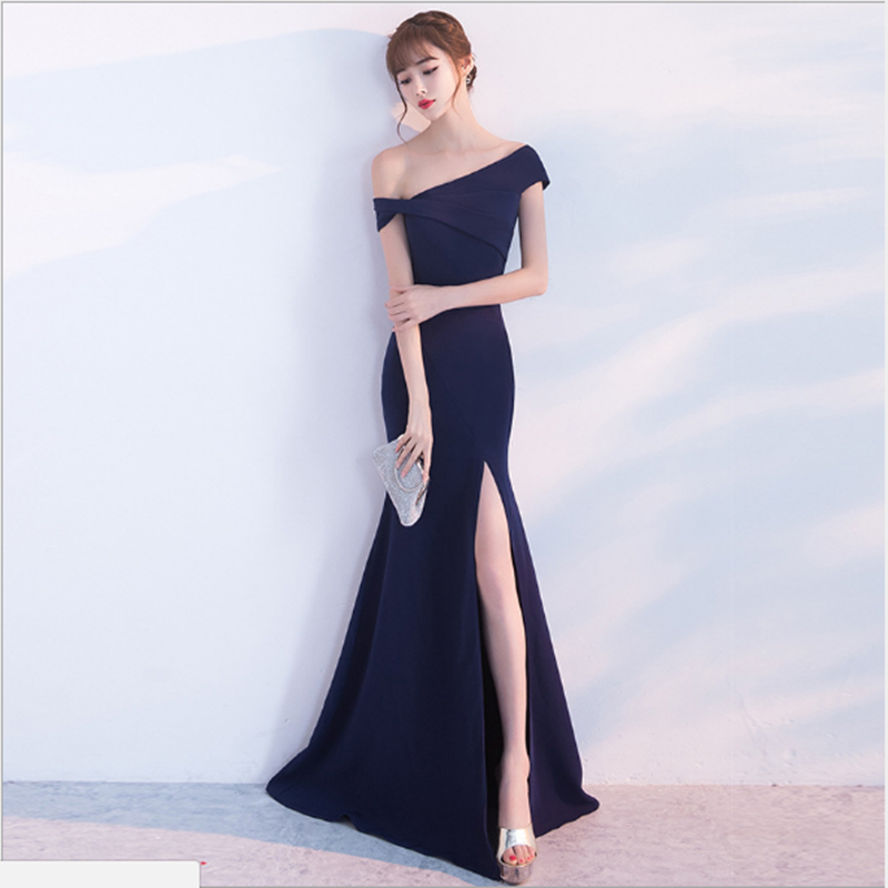 New Simple Elegant Mermaid Evening Dress Gown One Shoulder Sexy High Slit Cheap Prom Long Dress Party Gown Vestido Noche