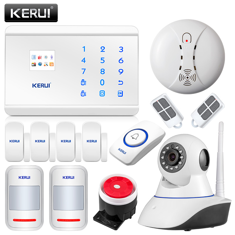 KERUI 8218G IOS Android APP Control GSM PSTN Wireless Home Security Alarm System English Russian Spanish French Voice kerui new 900 1800 1900mhz wireless gsm pstn burglar security alarm system for home house garden store shop office