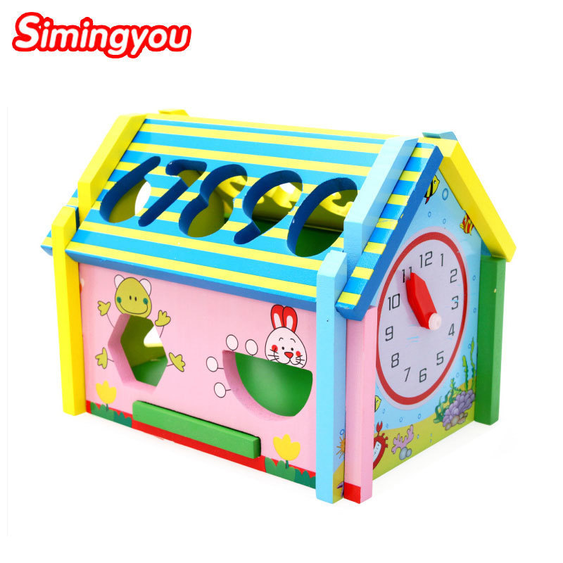Simingyou Wooden Educational Toys Math Wisdom House Shape Cognition Montessori Learning A50-0006 Drop Shipping