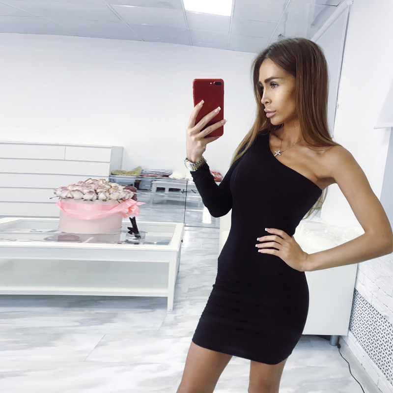 one shoulder sexy club party bodycon dress women 2019 (2)