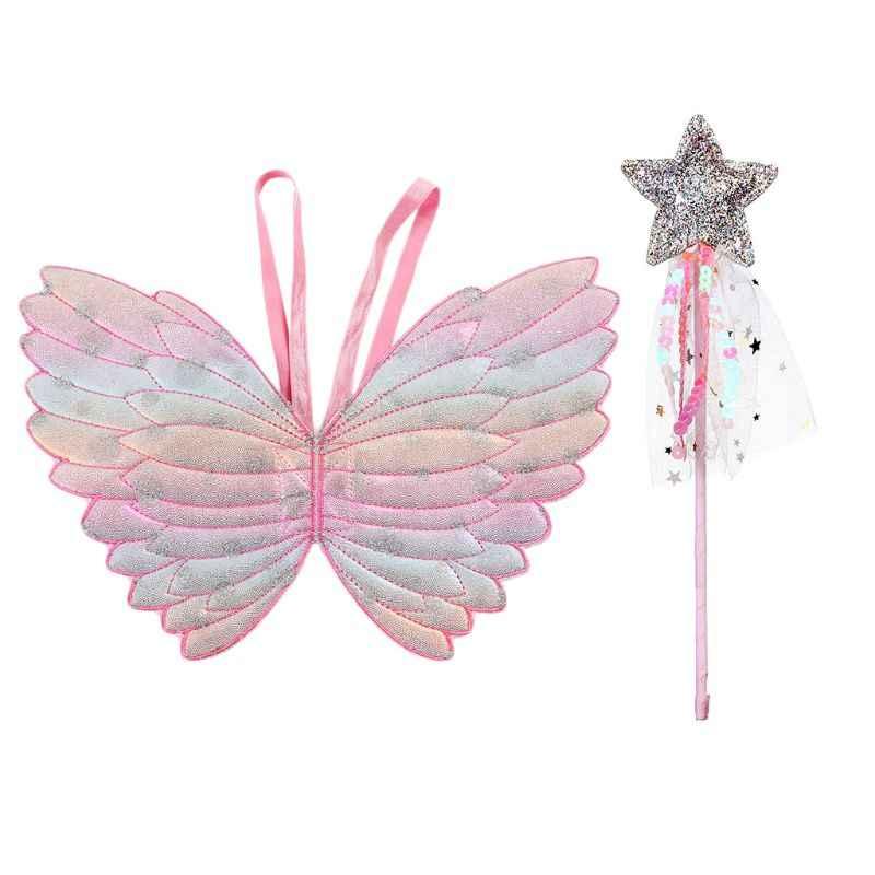 Милые детские костюмы реквизит для выступлений градиентный цвет Бабочка Принцесса крылья Ангела волшебная палочка дети одеваются игральные игрушки